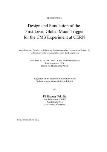Design and Simulation of the First Level Global Muon ... - HEPHY