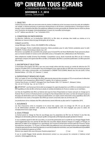 1. objectifs 2. conditions de participation 3. inscription et selection 4 ...
