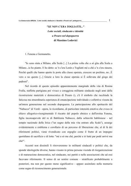 Lotte sociali, sindacato e identità a Pesaro nel dopoguerra di ...