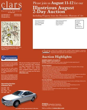 Upcoming Auction Schedule 2012 - Clars Auction Gallery