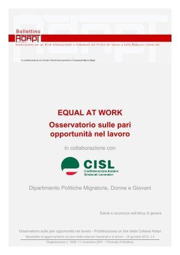 Osservatorio sulla pari opportunità nel lavoro - Cisl