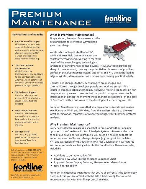 Premium Maintenance - Frontline Test Equipment