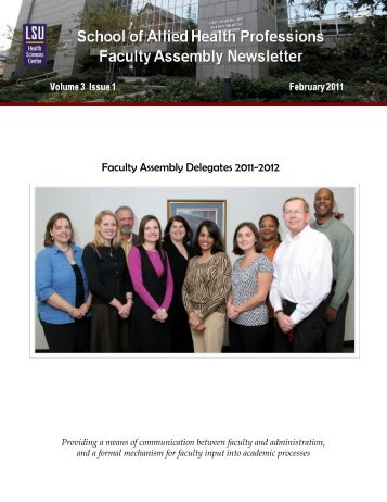 Volume 3 Issue 1, February 2011 - School of Allied Health Professions