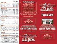 Price List - Frontier Tool & Equipment Rental