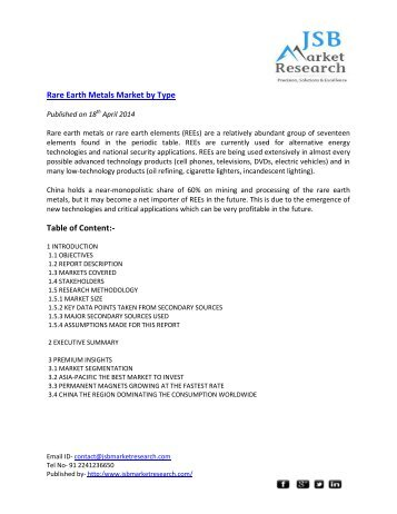 Rare Earth Metals Market by Type Table of Content:-