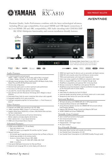 RX-A810 Product Bulletin - Sound Group Holdings