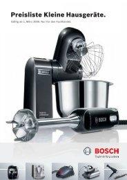 Preisliste Kleine Hausgeräte. - Bosch