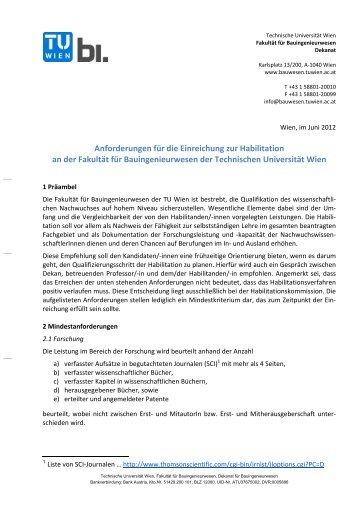 Anforderungen für die Einreichung zur Habilitation an der Fakultät ...