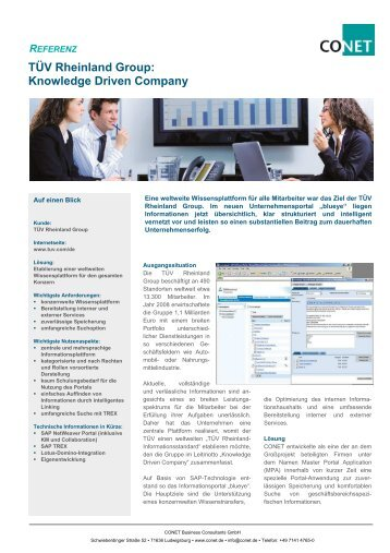 TÜV Rheinland Group: Knowledge Driven Company - CONET Group