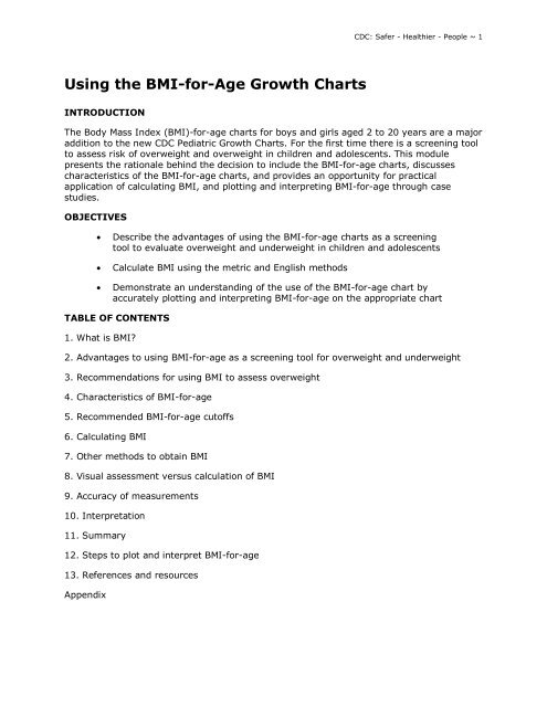 Using The Bmi For Age Growth Charts Centers For Disease Control