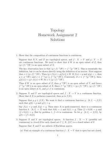 Topology Homework Assignment 2 Solutions