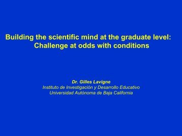 Building the scientific mind at the graduate level: Challenge at odds ...