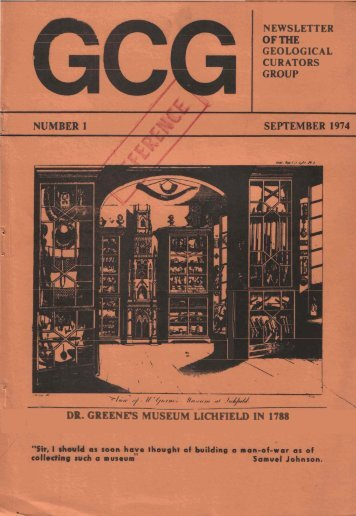 Newsletter of the Geological Curators Group, Number 1, September ...