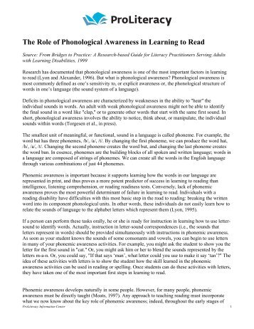 The Role of Phonological Awareness in Learning to ... - ProLiteracy