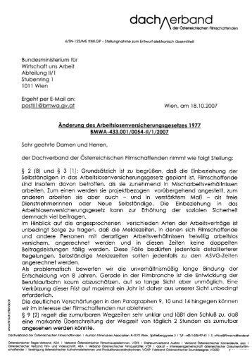 Novelle AlVg 2007. Stellungnahme des Dachverband der ...