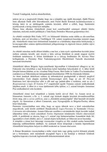 Avatóbeszéd. - MTA Régészeti Intézet