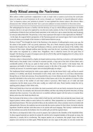 magazines from lent history wikispaces com body ritual among the nacirema pdf lent history