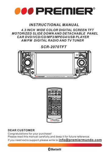 SCR 2070TFT INSTRUCTIONAL MANUAL   Premier