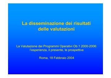 La disseminazione dei risultati delle valutazioni - Dps