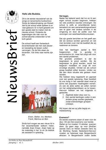 Nieuwsbrief 01 september 2001 - Stichting Budo Niedorp