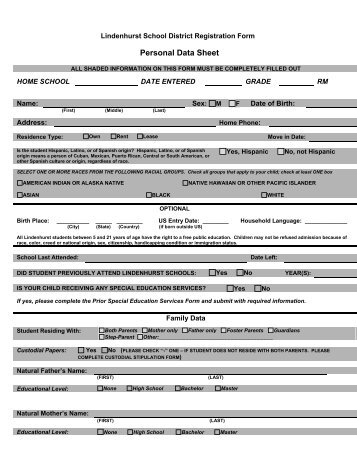 army personal data sheet PERSONAL DATA SHEET