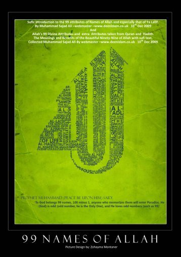 Sufi Introduction to the 99 Names of Allah and sufi ... - Deen islam