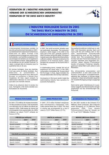 SES - L'industrie horlogère suisse en 2001 - Federation of the Swiss ...
