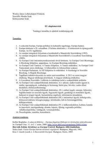 EU-s alapismeretek - Wesley János Lelkészképző Főiskola