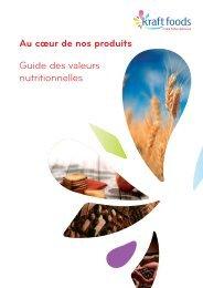 Au cœur de nos produits Guide des valeurs nutritionnelles - Storage
