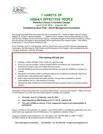 7 HABITS OF HIGHLY EFFECTIVE PEOPLE - Ranching For Profit