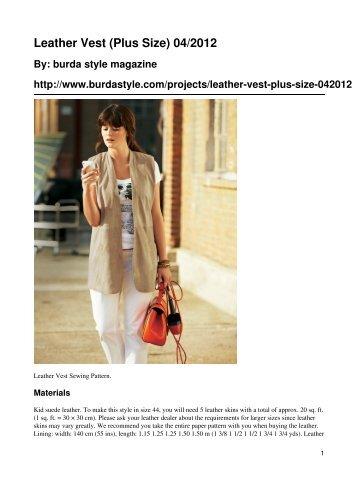 Leather Vest (Plus Size) 04/2012 - BurdaStyle.com