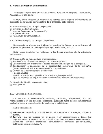 1. Manual de Gestión Comunicativa Concepto amplio ... - gartagani