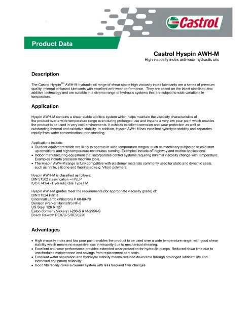 Product Data - Castrol - PDS & MSDS Search