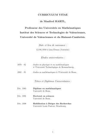 CV (format pdf) - Université de Valenciennes et du Hainaut-Cambrésis