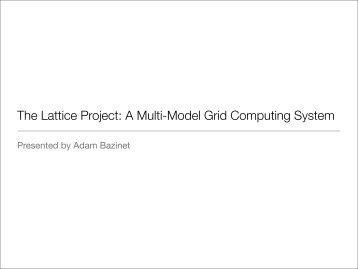 The Lattice Project: A Multi-Model Grid Computing System