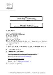 cahier des charges et acte d'engagement : - Institut du Monde Arabe
