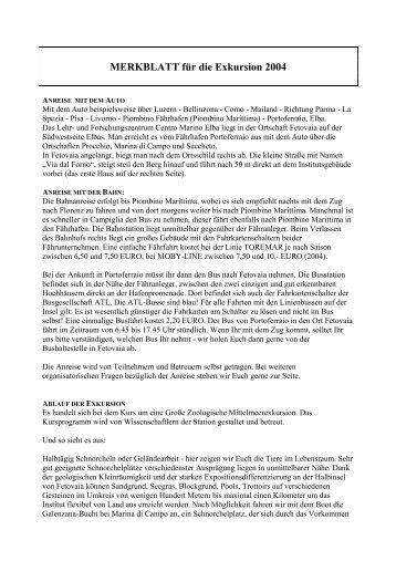 MERKBLATT, für die Exkursion 2001