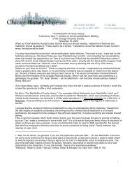 11/10/2005 Address to Chicago Historical Society Members - Index of