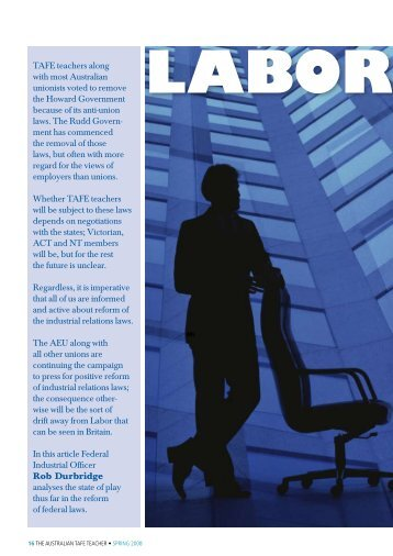 Labor goes corporate on IR - Australian Education Union
