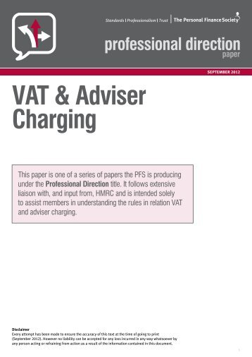 VAT & Adviser Charging - The Personal Finance Society