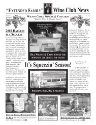 Wine Club News - Wilson Creek Winery