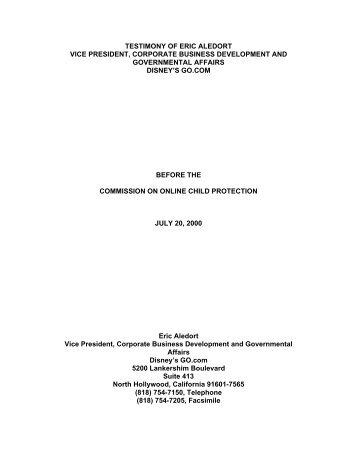 testimony of eric aledort vice president, corporate business - COPA ...