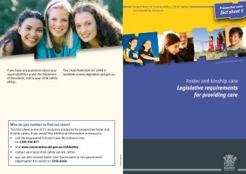 Foster and kinship care - Legislative requirements for providing care