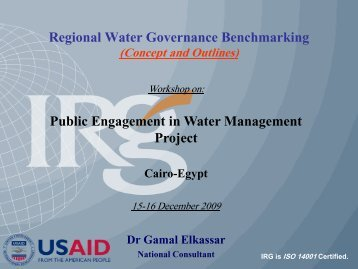 Regional Water Governance Benchmarking (Concept and Outlines)