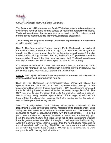 City of Alpharetta Traffic Calming Guidelines