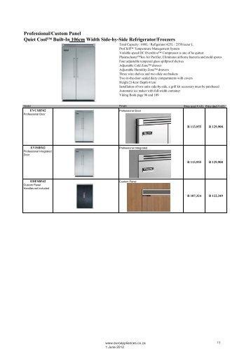 Professional/Custom Panel Quiet Cool™ Built-In ... - Euro Appliances