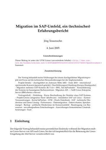 Migration im SAP-Umfeld, ein (technischer) Erfahrungsbericht