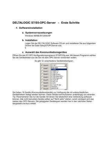 DELTALOGIC S7/S5-OPC-Server - Erste Schritte - INEE