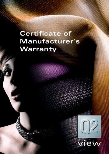 Certificate of Manufacturer's Warranty - Rohleder
