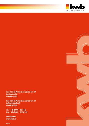 kwb Karl W. Burmeister GmbH & Co. KG Postfach 1454 D-28804 ...
